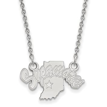 NCAA 14k White Gold Indiana State Small Sycamores Pendant Necklace