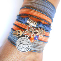 Astrologic Zodiac Jewelry Leo Silk wrap bracelet Sign jewelry Hamsa Spiritual Boemian jewelry Unique Birthday Unique gift for her under 30
