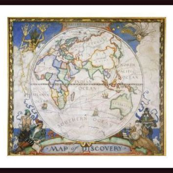 A map of the eastern hemisphere depicting famous explorers routes., framed black wood, white matte