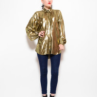 80s Metallic Gold Lame Draped  Blouse - 1980s Oversized Foil Houndstooth Button Up Collared Shirt - S M