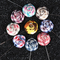 Fashion New Popular Men Broches Rose Floral Men Lapel Pin Brooches Flower Suit Wedding Flower Long Pin Flower Broche