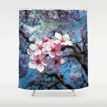 Cherry Blossoms Shower Curtain by Just Kidding | Society6