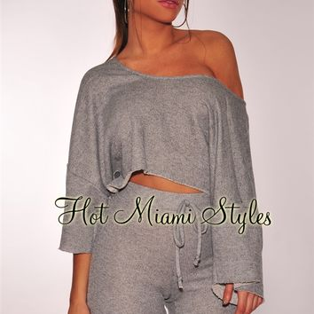 Gray Off Shoulder Sporty Two Piece Set