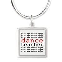 Dance Teacher Silver Square Necklace