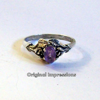 """Vintage sterling silver and amethyst ring - pretty floral motif """"antiqued"""" setting - size 7 1/2."""
