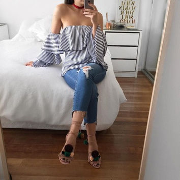 Off Shoulder Backless Stripe Shirts