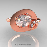 Art Nouveau 14K Rose Gold 1.0 Ct Oval Morganite Diamond Nature Inspired Engagement Ring R296-14KRGDMO