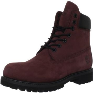 "Timberland Men's 6"" Premium Waterproof Boot,Burgundy Nubuck,9 M US"