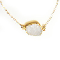 Sparkling White Druzy Necklace
