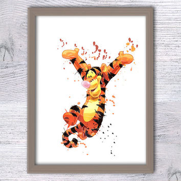 Tigger Winnie the Pooh, Nursery art, Tigger poster, Disney Watercolor Art, Kids Wall Décor, baby, Shower Gift, Pooh Wall Art, boys room, V43