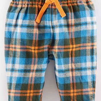 Infant Boy's Mini Boden Plaid Cotton Pants,