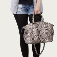 MK Michael Kors Riley Large Embossed Satchel Snake Python Print Bag $448