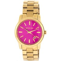 Michael Kors Women's MK5801 'Runway' Pink Dial Goldtone Stainless Steel Watch
