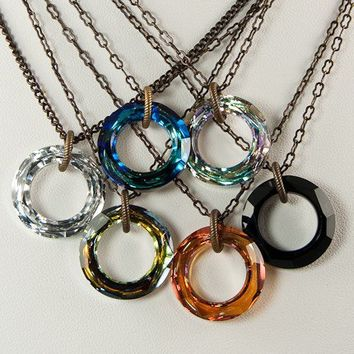 Cosmic Ring Swarovski Crystal Necklace by CobwebCorner on Etsy