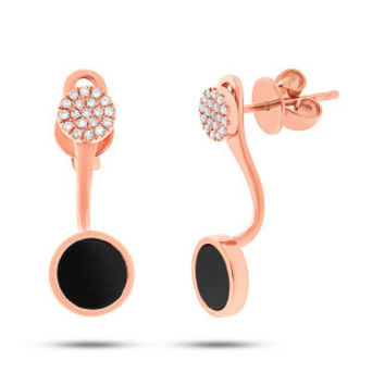 0.09ct Diamond & 0.80ct Onyx 14k Rose Gold Earring Jacket with Stud