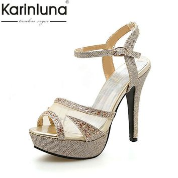 karinluna large size 33-43 thin high heels ankle strap women shoes woman sexy platform summer party wedding bride sandals woman