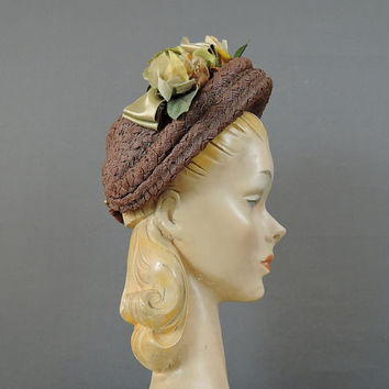 1940s Straw Floral Hat, Brown Straw with Open Top, New York Creation