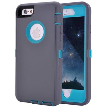 "Crosstreesports iPhone 6 Case iPhone 6s Case Heavy Duty Shockproof Series Case for iPhone 6/6S (4.7"")-V2 with Built-in Screen Protector Compatible with All US Carriers - Grey and Lt Blue"