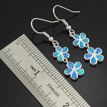 Blue Opal Flower Dangle Earrings [LIMITED SUPPLY]