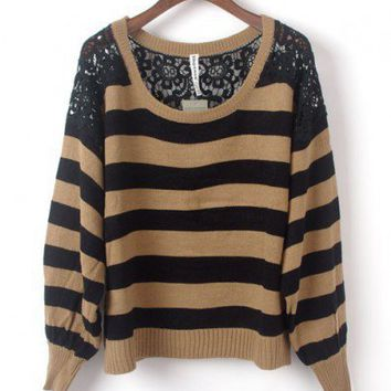 Khaki Stripe Jumpers with Floral Lace Detail