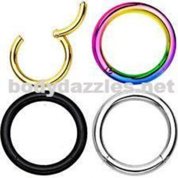 Anodized  Surgical Steel Hinged Segment Rings Cartilage Tragus Daith Helix Body Jewelry 16ga