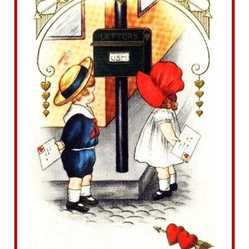 Victorian Valentine Young Boy and Girl Mailbox Counted Cross Stitch Pattern