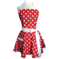 Cute and Flirty Women's Classic Full Hostess Apron - Red with White Dots with White Ties