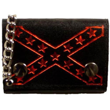 Genuine Leather Biker Trifold Wallet Confederate Flag Imprint 946-27 (C)