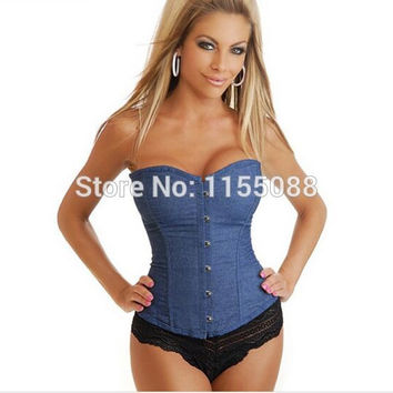 50pcs/lot  Jeans Corselet Plus Size Women Clothing Sexy Blue Denim Corset With Lace Thong Corset Tops Jeans Waist Trainers