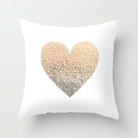 GOLD HEART Throw Pillow by Monika Strigel