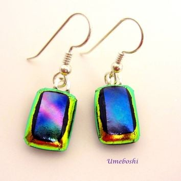 Metallic Rainbow Handmade Dichroic Fused Glass Dangle Earrings