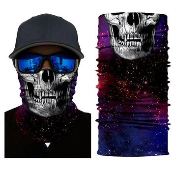 2018 Ghost Scarf Motorcycle Face Mask Bicycle Ski Skull Half Face Mask Multi Use Neck Warmer Halloween Outdoor Sports