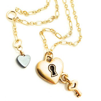 Gold Ankle Bracelet, Heart and Key Anklet, Lock and Key Jewelry, Anklets for Women, Gold Heart Anklet, Hematite Heart, Gold Plated Chain