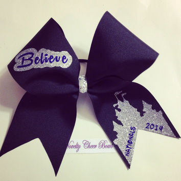 Black Believe Nationals 2014 Cheer Bow with Royal and Silver Heat Transfer