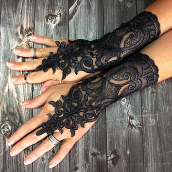 Handpainted black lace gloves, personalized gift, steampunk party gloves, opera lace fingerless gloves, cosplay fantasy lolita sexy gloves