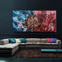 """Watercolor painting, 72"""" Abstract red and blue canvas art Large watercolor painting wall art, modern watercolor wall decor -Nandita Albright"""