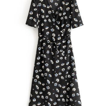 Vintage slim one-piece floral flower button wrap dress