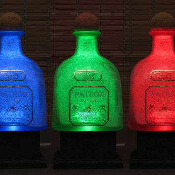 Big 1.75 Liter Patron XO Tequila Bottle Lamp Color Changing LED Remote Controlled Eco Friendly RGB led /Party Light -Bodacious Bottles-
