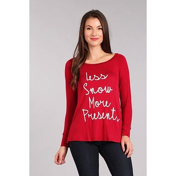 Less Snow More Presents Graphic Long Sleeve T - Red