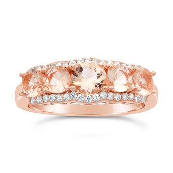 5 Stone Pink Plated Silver Morganite Round Cubic Zirconium Ring