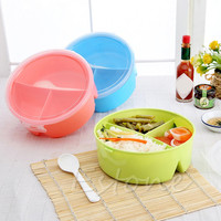 Randomly Color Portable Picnic Lunch Box Round Microwave Box  Bento Food Container Storage+Spoon Randomly Color A16621