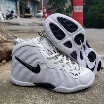 Nike Air Foamposite Pro White Black Velcro Toddler Kid Shoes - Best Deal Online