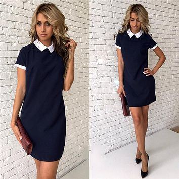 Women Sexy Summer Dress Short Sleeve Bodycon Sundress School Casual Peter Pan Collar Short Mini Dress