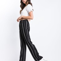 Black Striped Wide Leg Pants