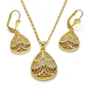 Gold Layered 10.233.0004 Necklace and Earring, Teardrop Design, with White Cubic Zirconia, Diamond Cutting Finish, Gold Tone