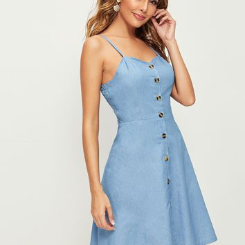 Button Front Shirred Back Denim Cami Dress