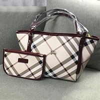 Burberry Newest Popular Women Shopping Leather Handbag Tote Shoulder Bag Purse Set Two Piece Burgundy