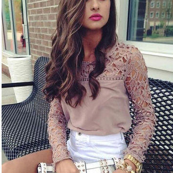 Khaki Cutout Lace Long-Sleeve Shirt - pink