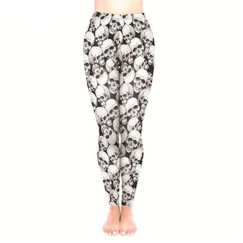 Leggings High Waist a Lot of skulls 3D Print