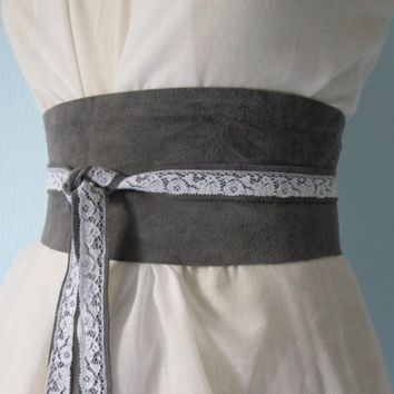 Dove Grey Suede Leather Obi Belt with by TheButterfliesShop
